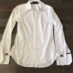 Express long sleeve white button down top
